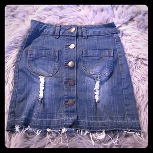 A ripped jean style skirt